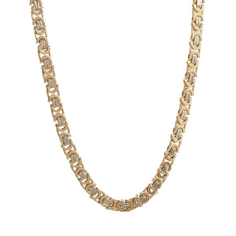 Pre-Owned Gold Two Tone Flat Byzantine Necklace