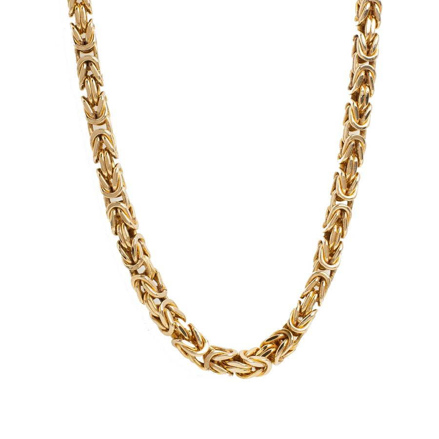 "Pre-Owned 9ct Gold 24"" Square Byzantine Necklace"