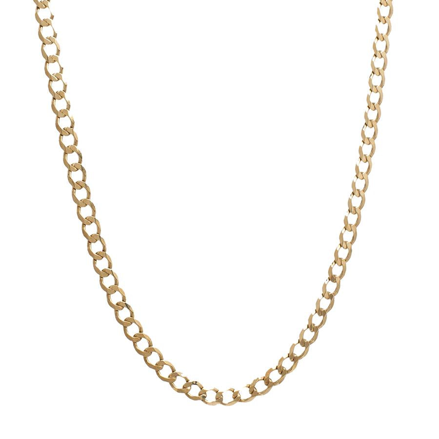 Pre-Owned 9ct Gold Flat Round Curb Link Necklace