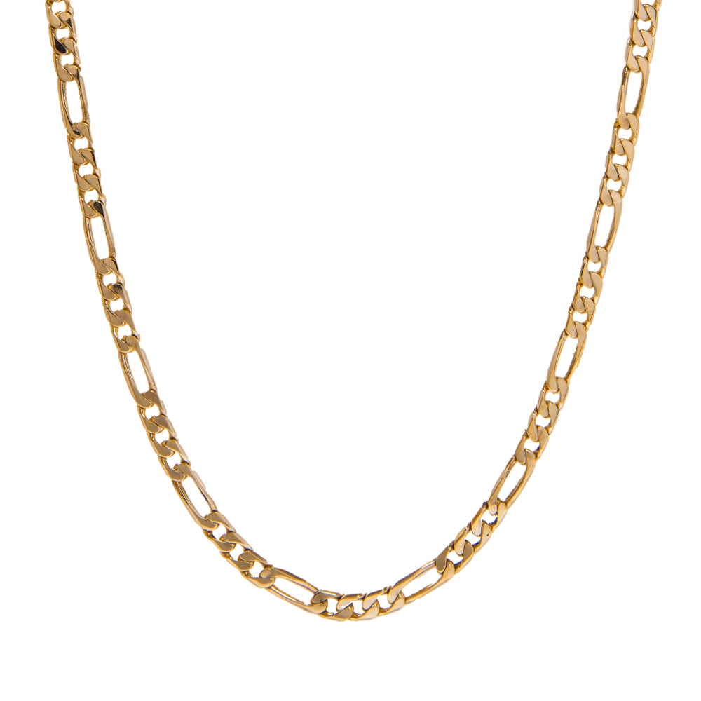"Pre-Owned 9ct Gold 24"" 3+1 Figaro Necklace"