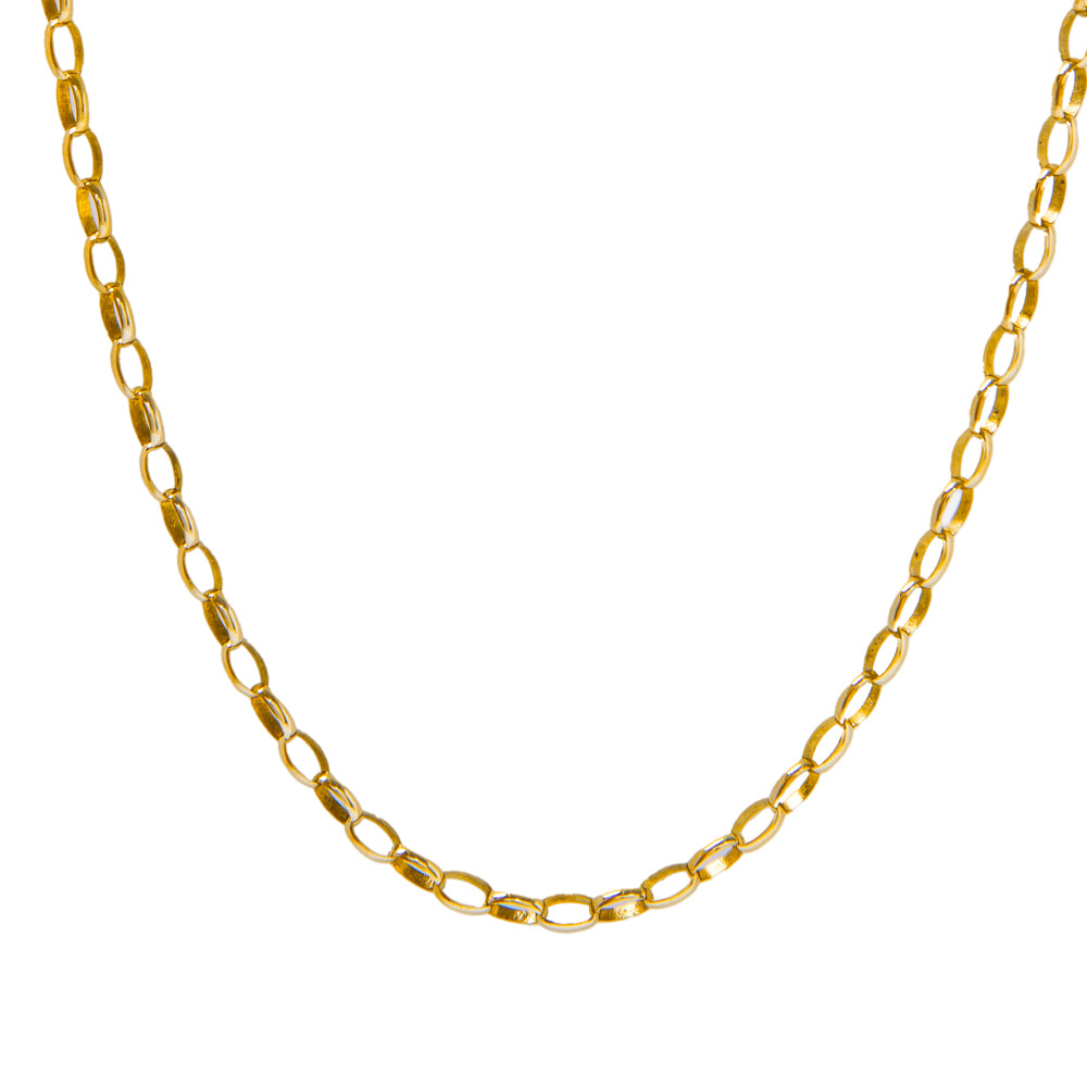 "Pre-Owned 9ct Gold 20"" Thin Oval Belcher Necklace"