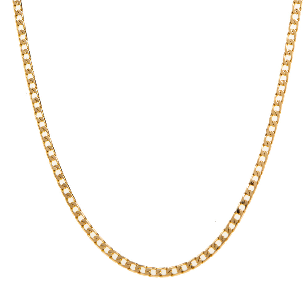 "Pre-Owned 9ct Gold 25"" Flat Oval 3mm Curb Necklace"
