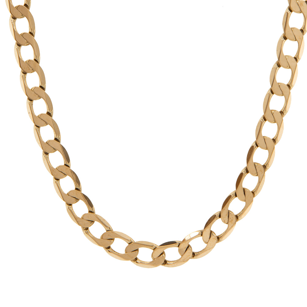 "Pre-Owned 9ct Gold 20"" Flat Oval 7mm Curb Necklace"