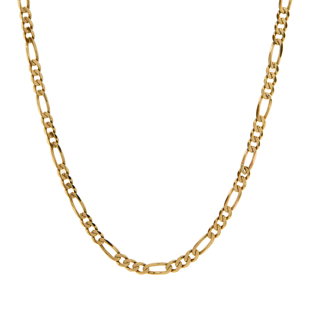 "Pre-Owned 9ct Gold 18"" 3+1 Figaro Necklace"