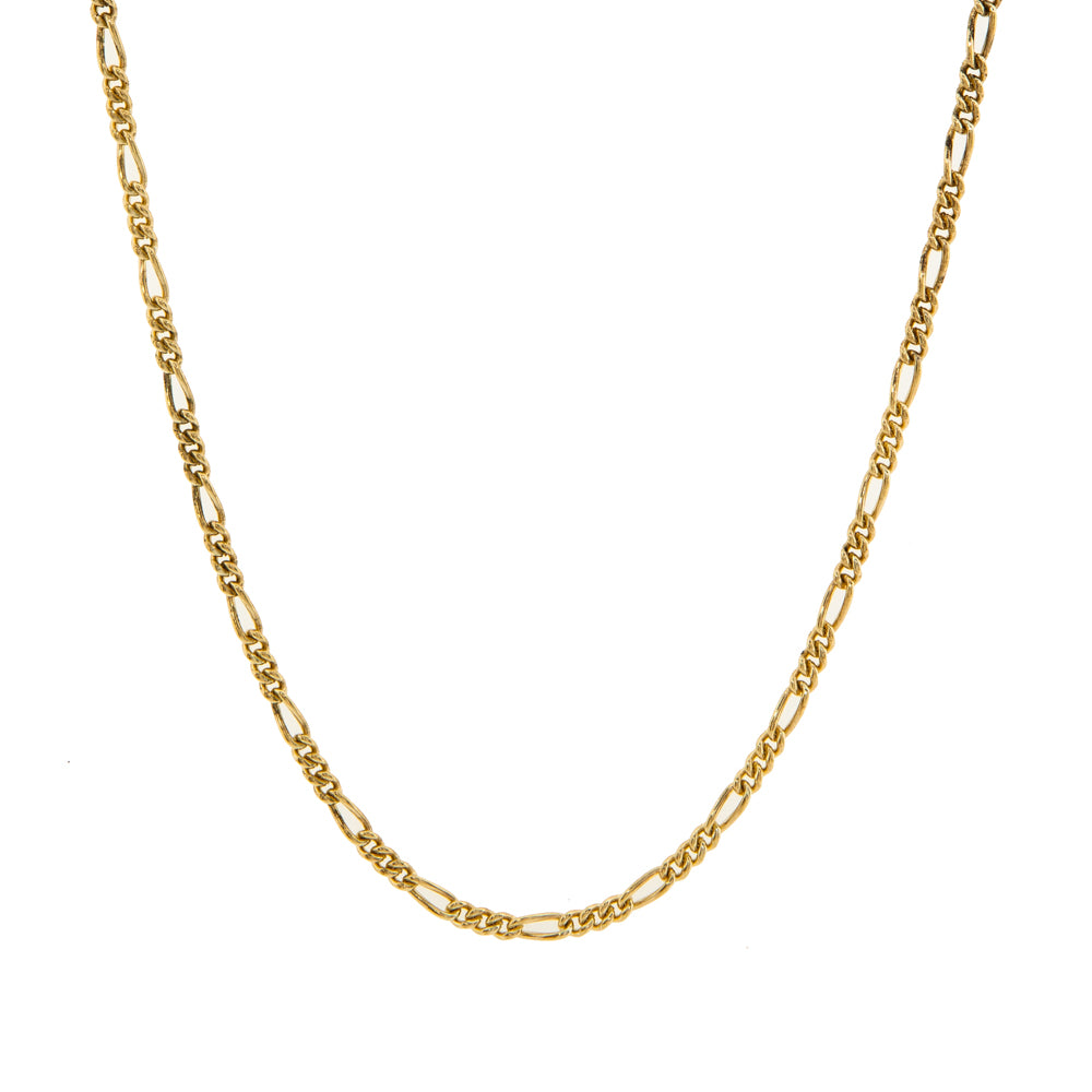 "Pre-Owned 9ct Gold 3+1 Figaro 22"" Necklace"