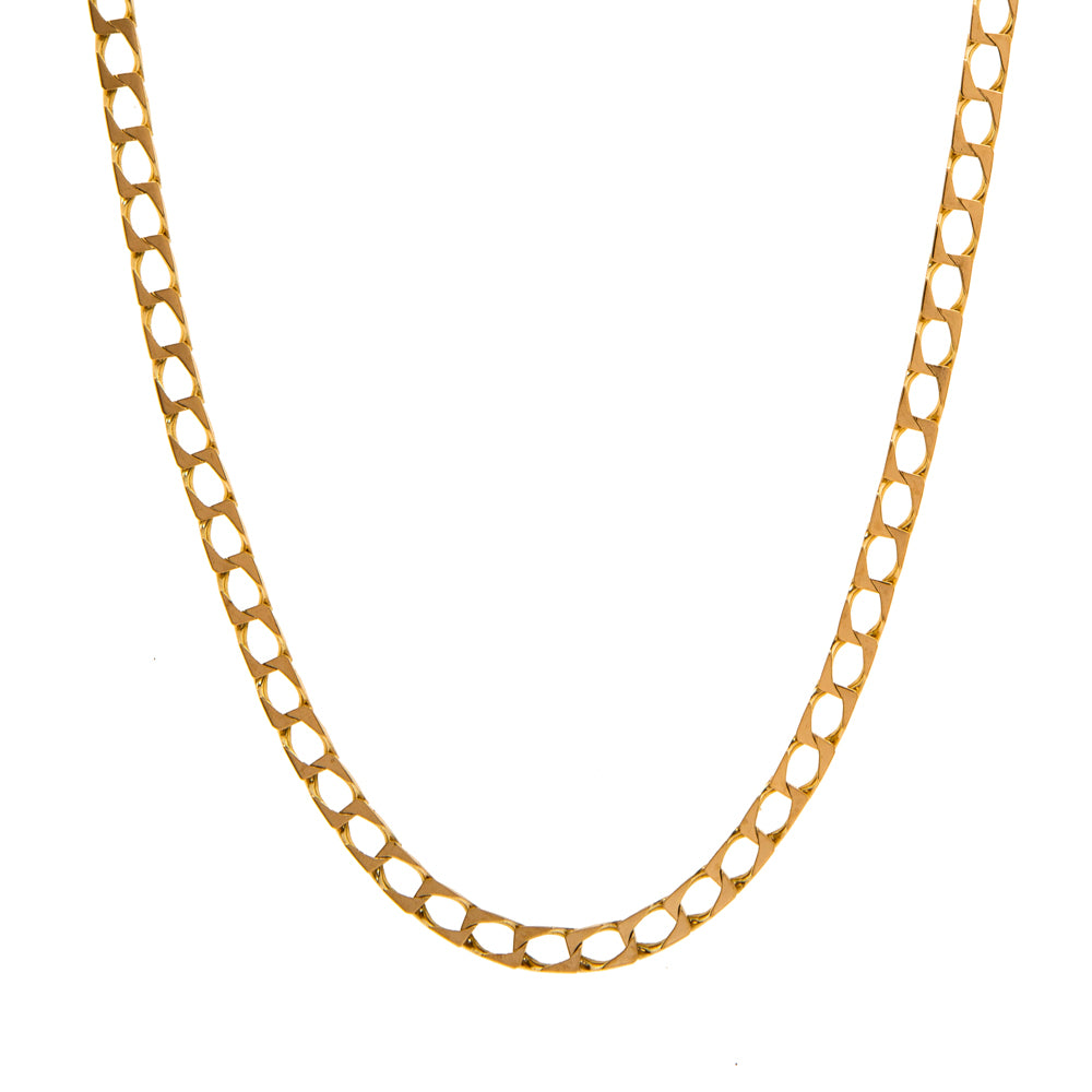 "Pre-Owned Gold 22"" Flat Square 4mm Curb Necklace"