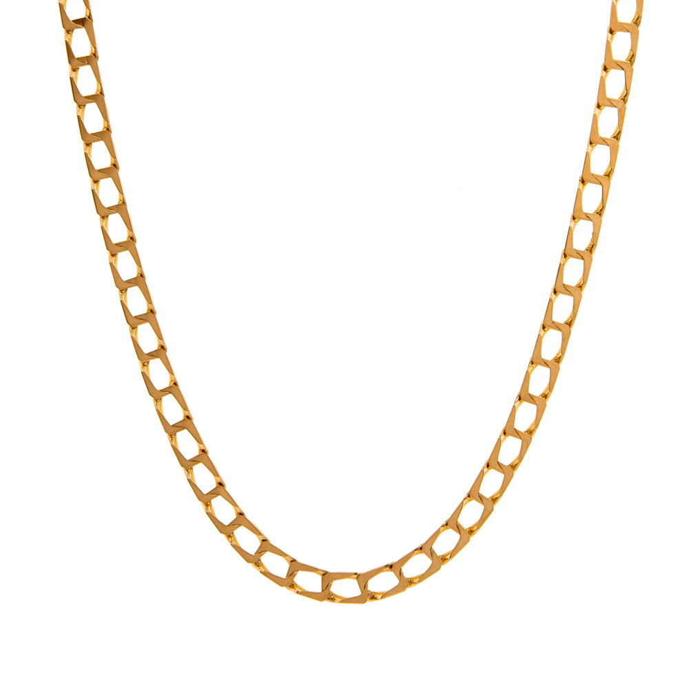 "Pre-Owned Gold 18"" Flat Square 4mm Curb Necklace"