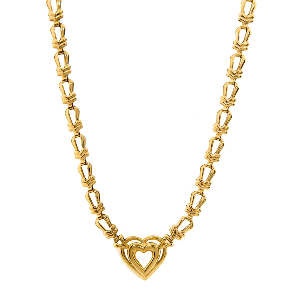 "Pre-Owned 9ct Gold 17"" Fancy Link Heart Necklace"
