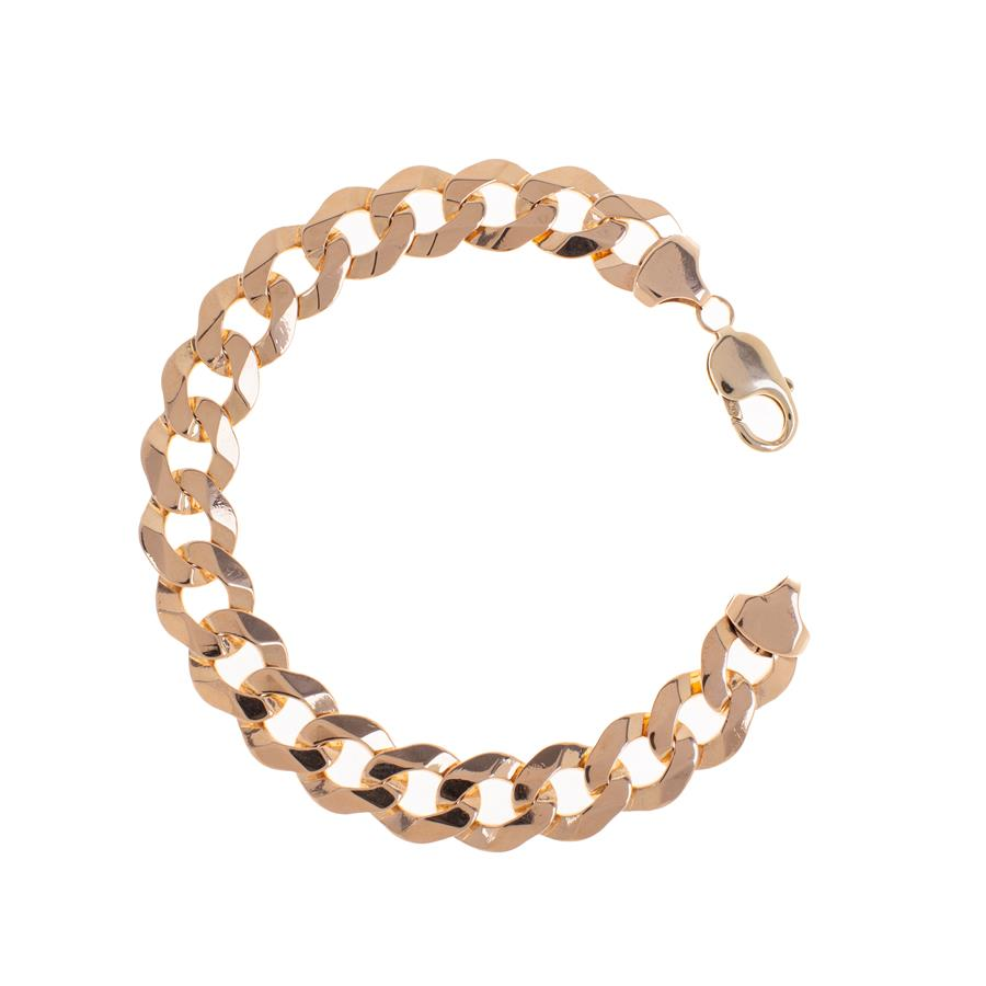"Pre-Owned 9ct Gold Gents 9"" Flat Curb Bracelet"
