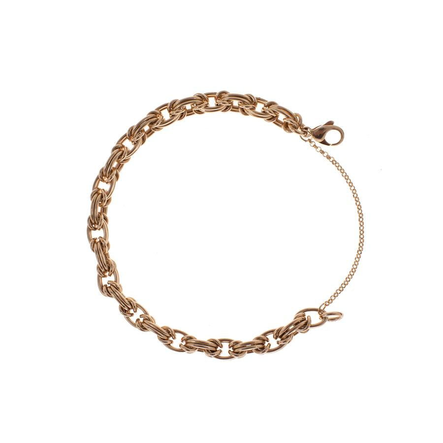 "Pre-Owned 9ct Gold 8"" Byzantine Safety Chain Bracelet"