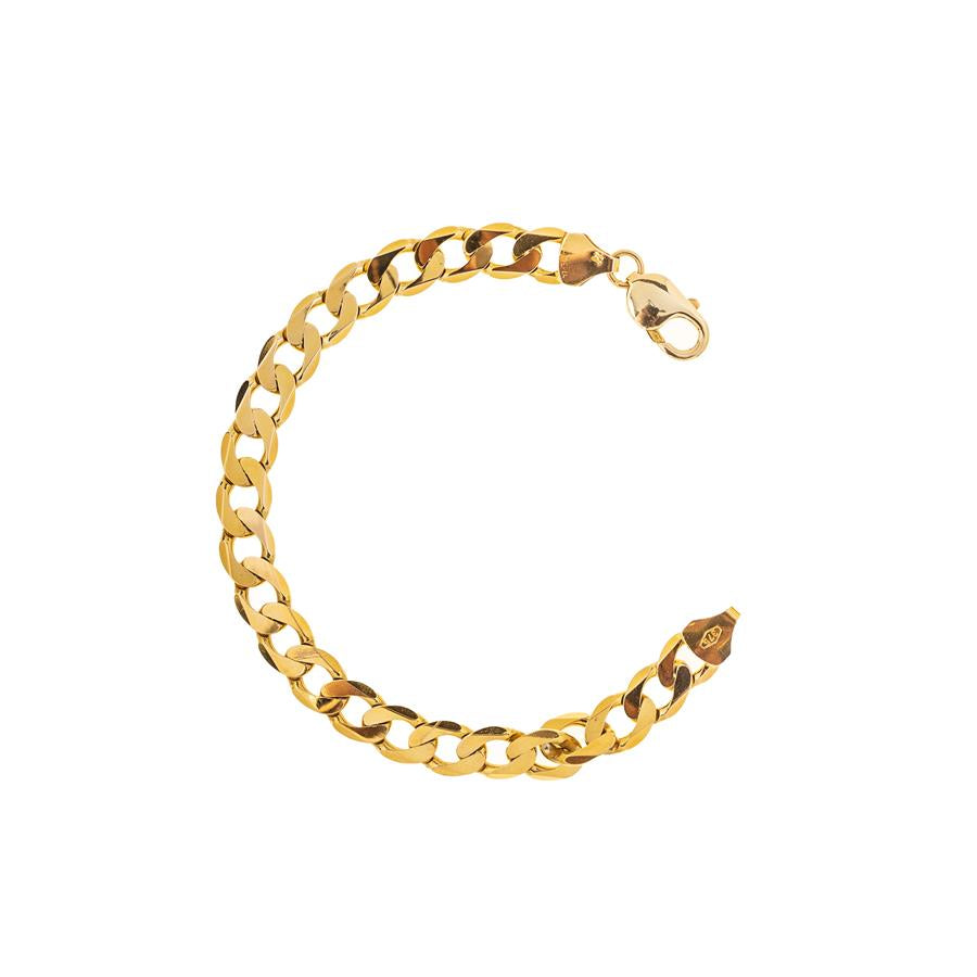 "Pre-Owned 9ct Gold Gents 8"" Flat Curb Bracelet"