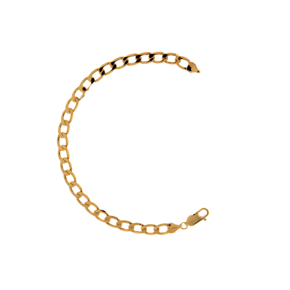 "Pre-Owned 9ct Gold 7.5"" Flat Oval Curb Bracelet"