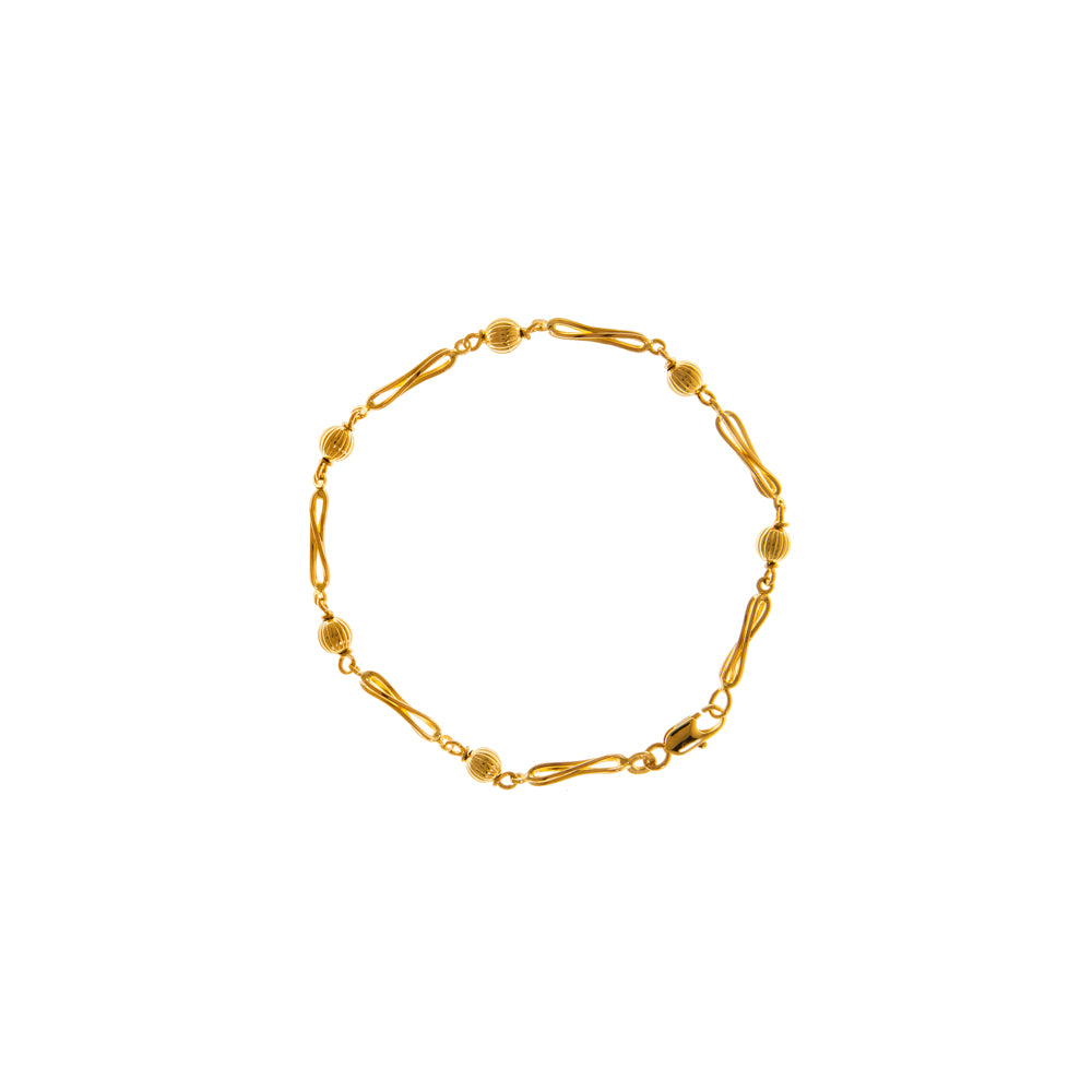 "Pre-Owned 9ct Gold 8"" Ball & Twist Chain Bracelet"