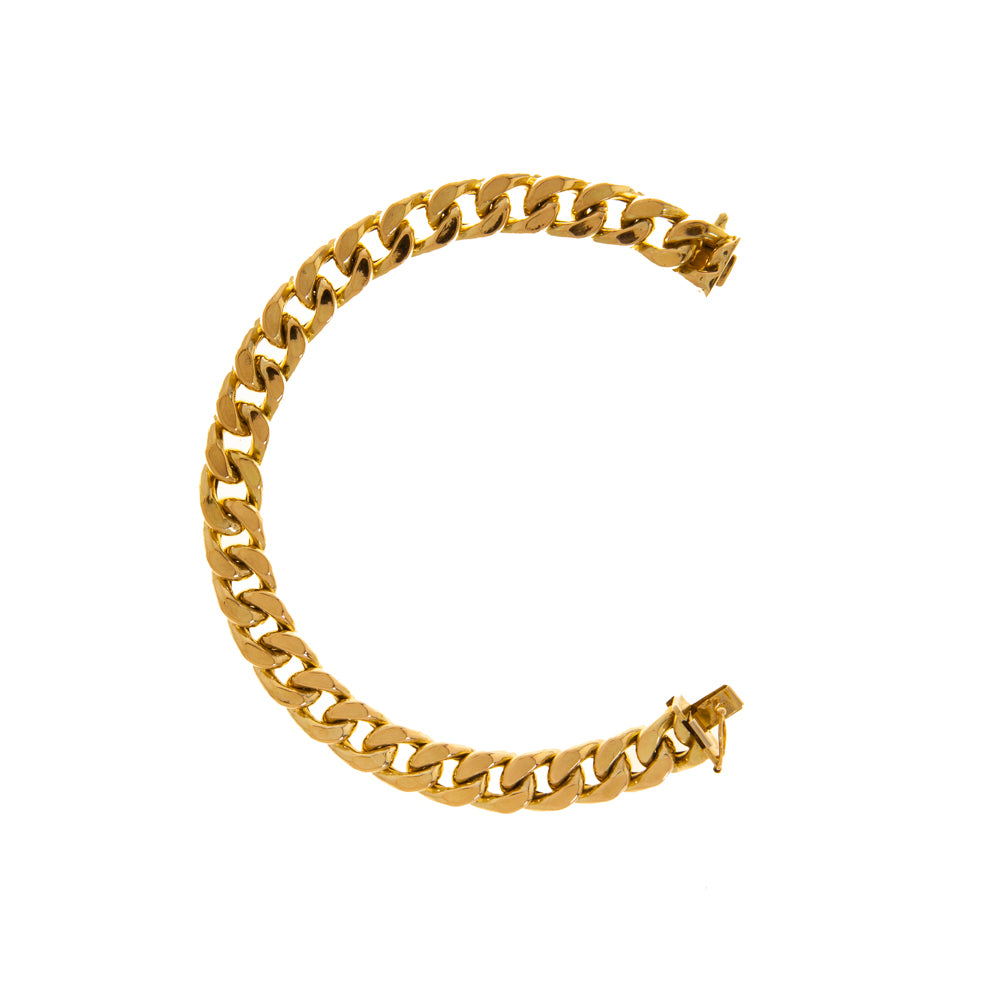 "Pre-Owned 9ct Gold 8"" Gents Hollow Curb Bracelet"