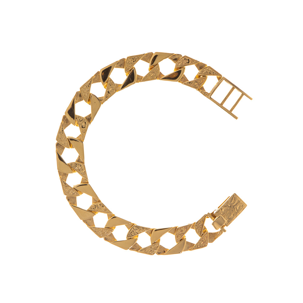 "Pre-Owned Gold 6.5"" Childs Square Curb Bracelet"