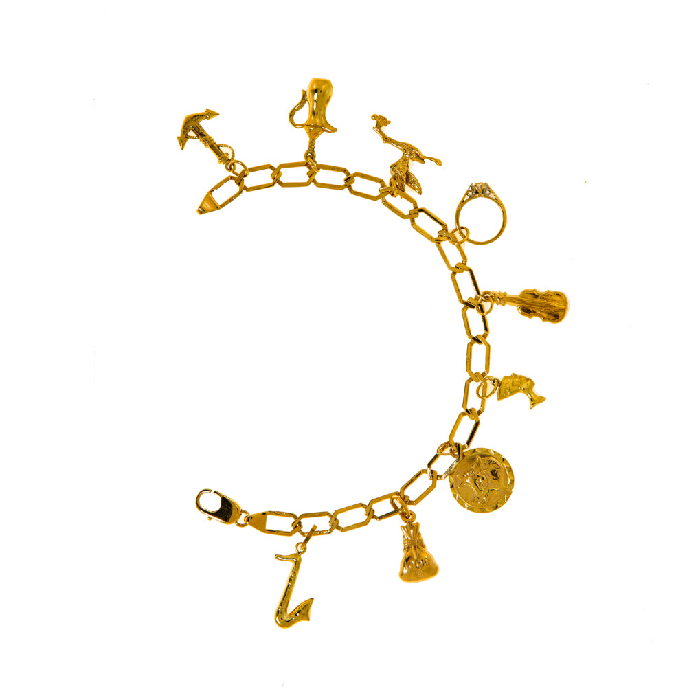 "Pre-Owned Gold 9 Charm 8"" Hexagon Link Bracelet"