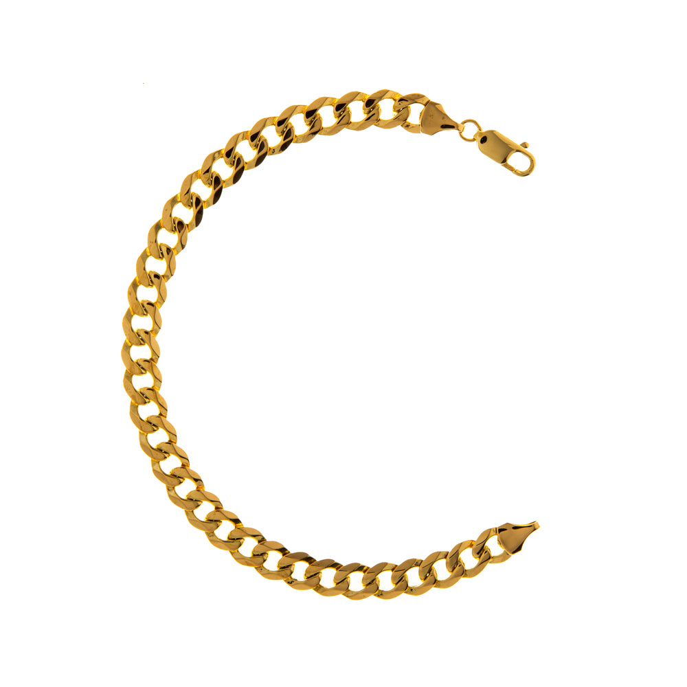 "Pre-Owned 9ct Gold 8"" Flat Round 7mm Curb Bracelet"