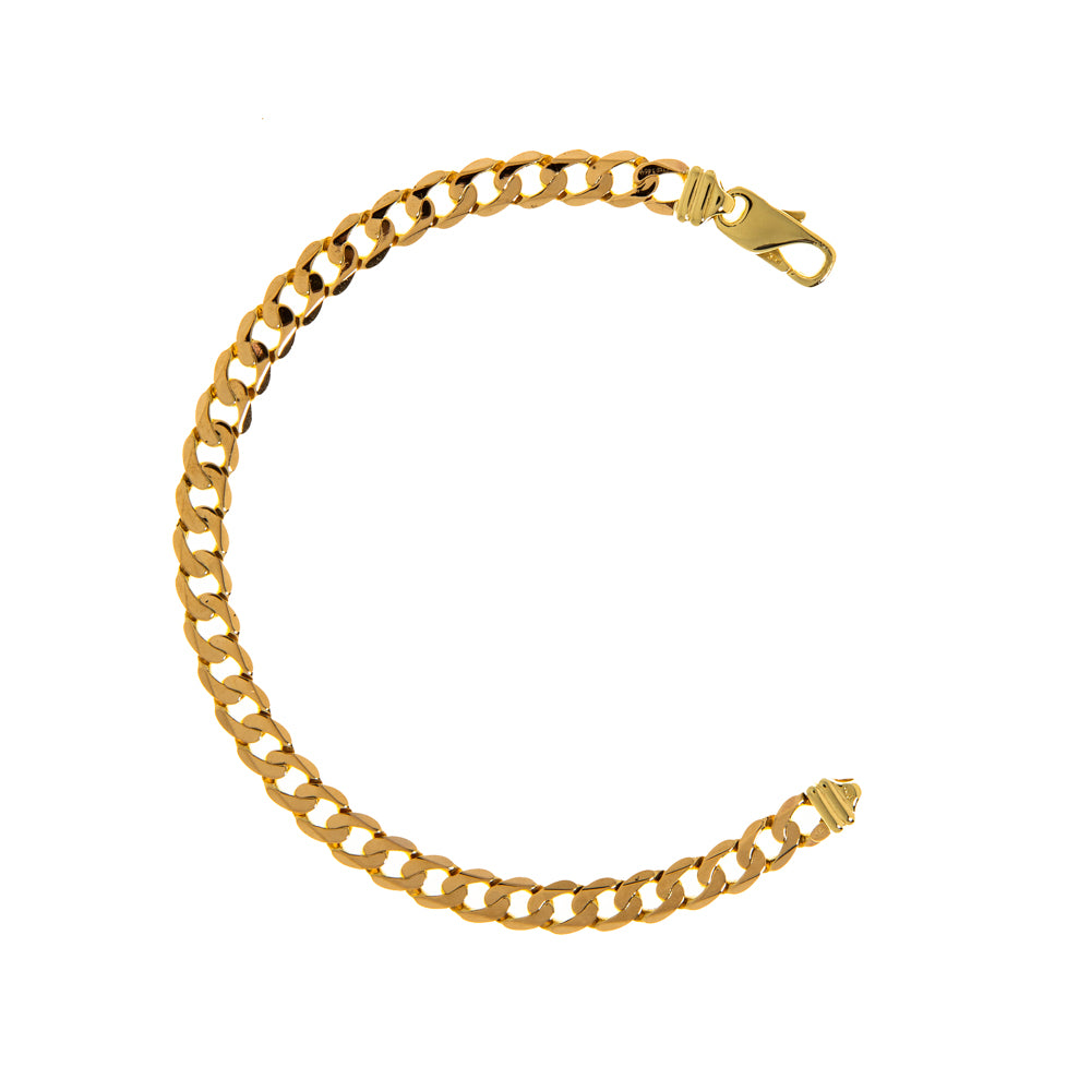 "Pre-Owned Gold 8.5"" Flat Round 7mm Curb Bracelet"