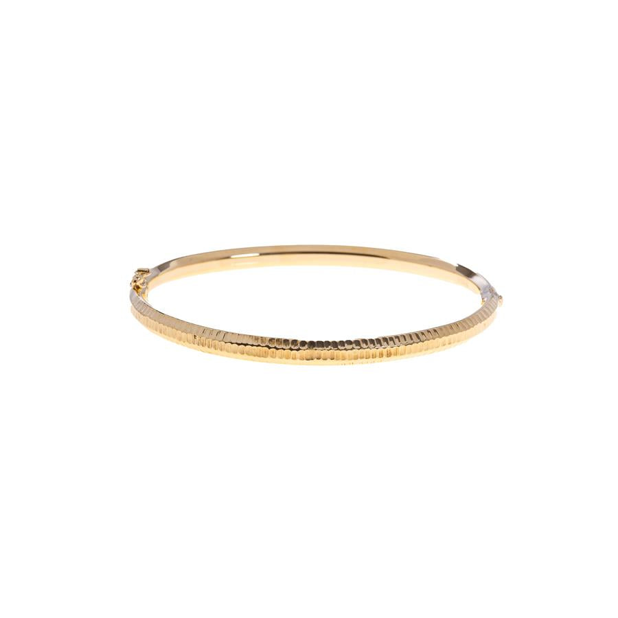 Pre-owned 9ct Gold Facetted Design Hinged Bangle
