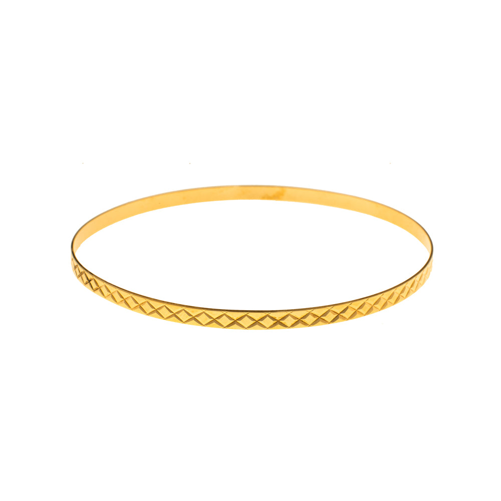 Pre-Owned 9ct Gold Diamond Pattern 3mm Love Bangle