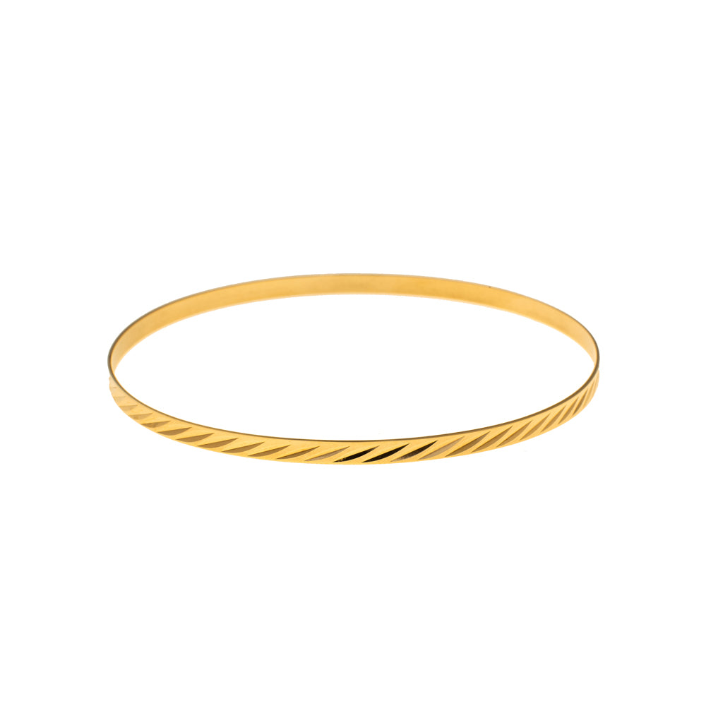 Pre-Owned 9ct Gold Diagonal Line 3mm Love Bangle
