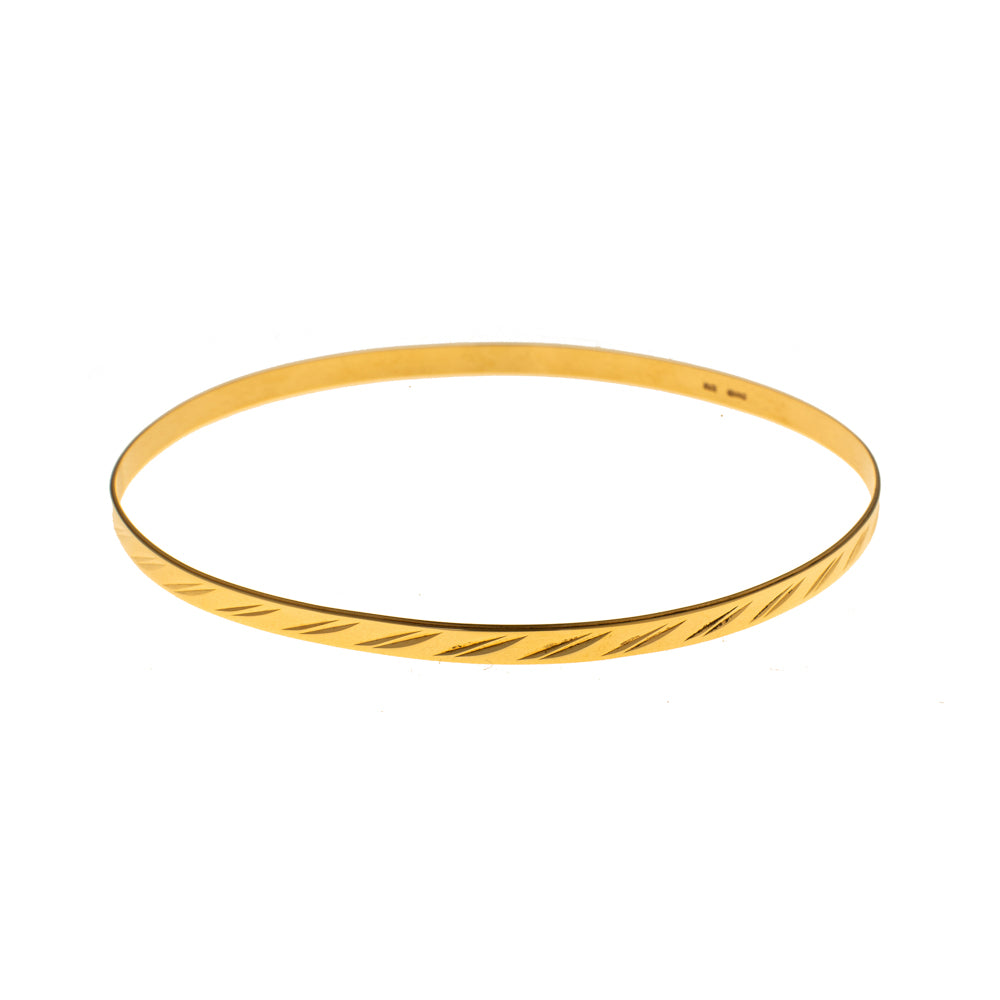 Pre-Owned 9ct Gold Double Diagonal 3mm Love Bangle