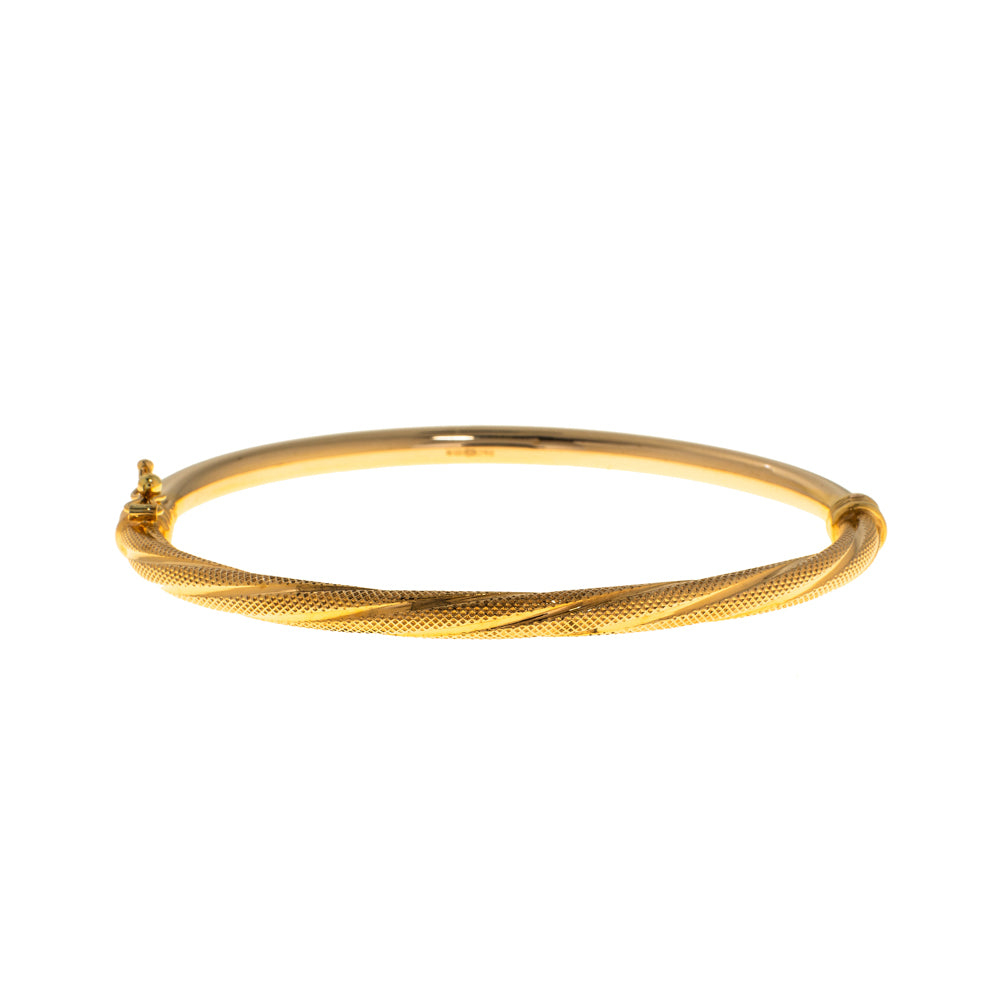 Pre-Owned 9ct Gold Twist Polished Hinged Bangle