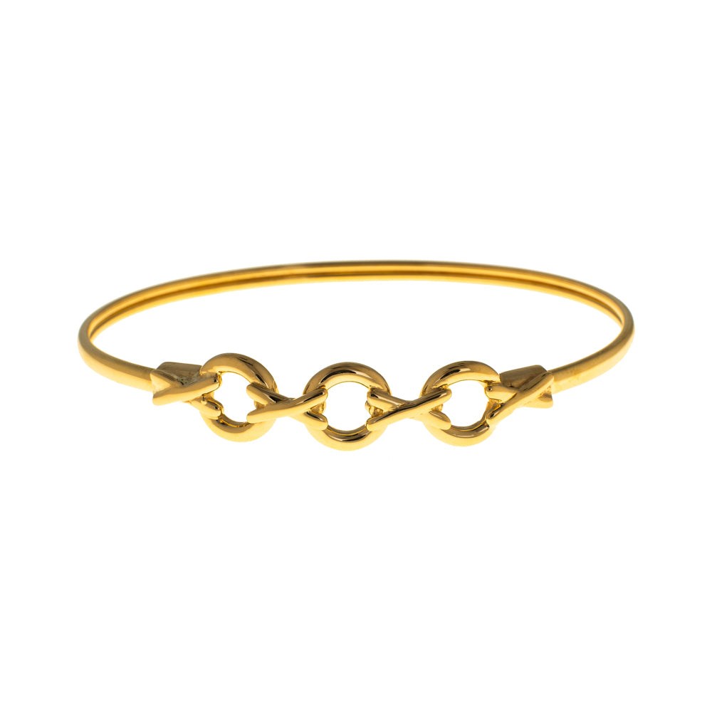 Pre-Owned 9ct Gold Hollow XO Design Bangle