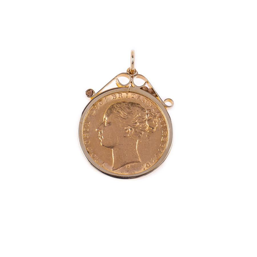 Pre-Owned 1873 Full Sovereign 9ct Gold Pendant