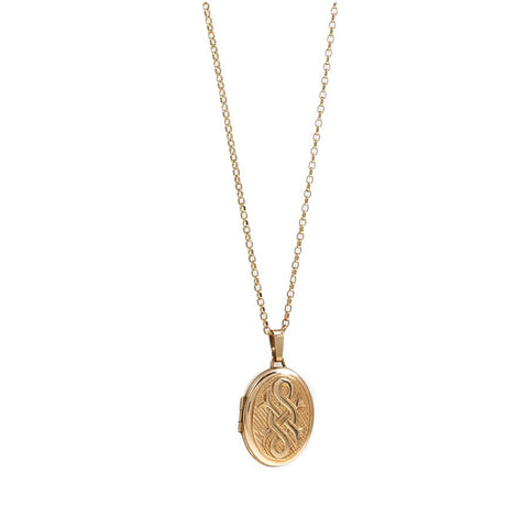 Pre-Owned 9ct Gold Oval Locket Necklace