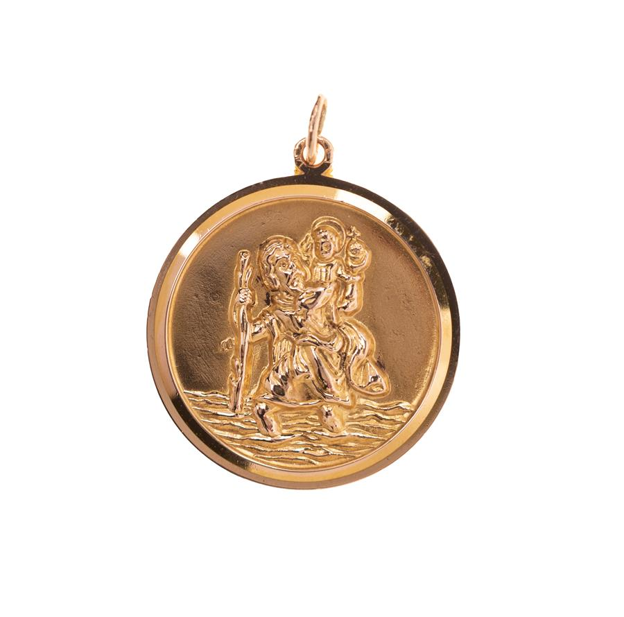 Pre-Owned 9ct Gold Emboss St. Christopher Pendant