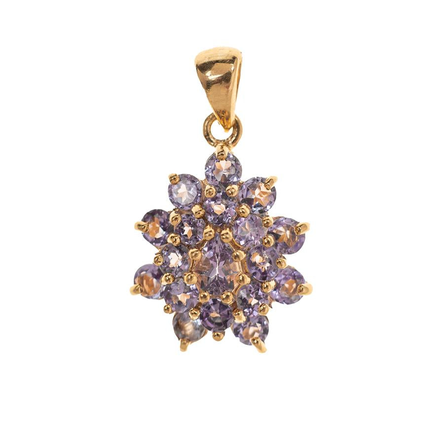 Pre-Owned 9ct Gold Tanzanite Cluster Pendant