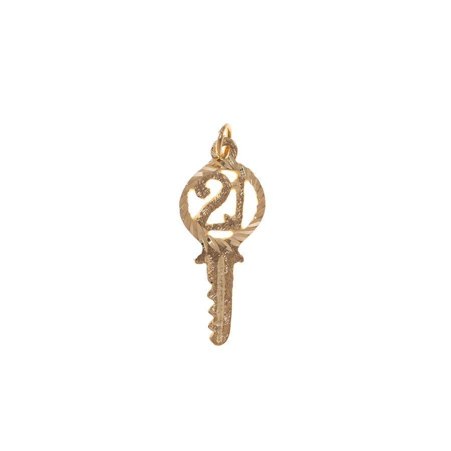 Pre-owned Small 21 Key Female Yellow Gold Charm