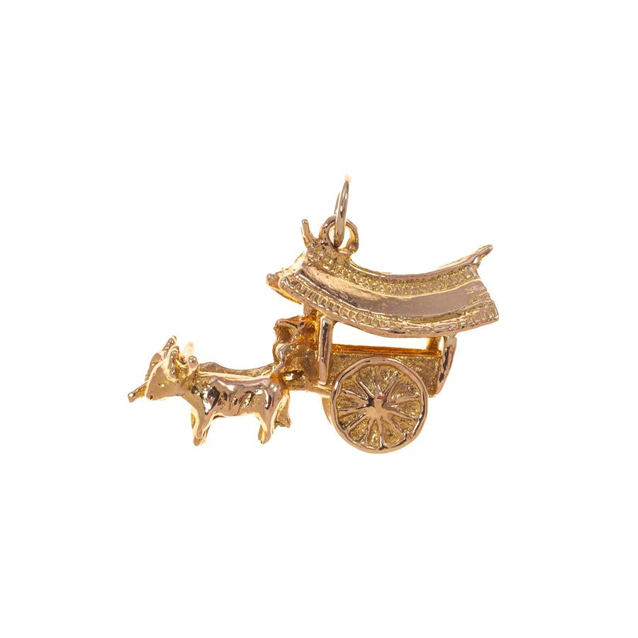 Pre-owned Oxen Carriage With Farmer Charm