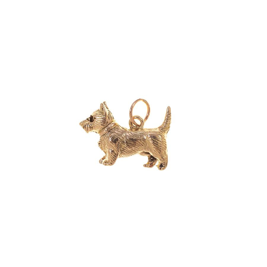 Pre-owned Gold Scottie Dog Female Charm