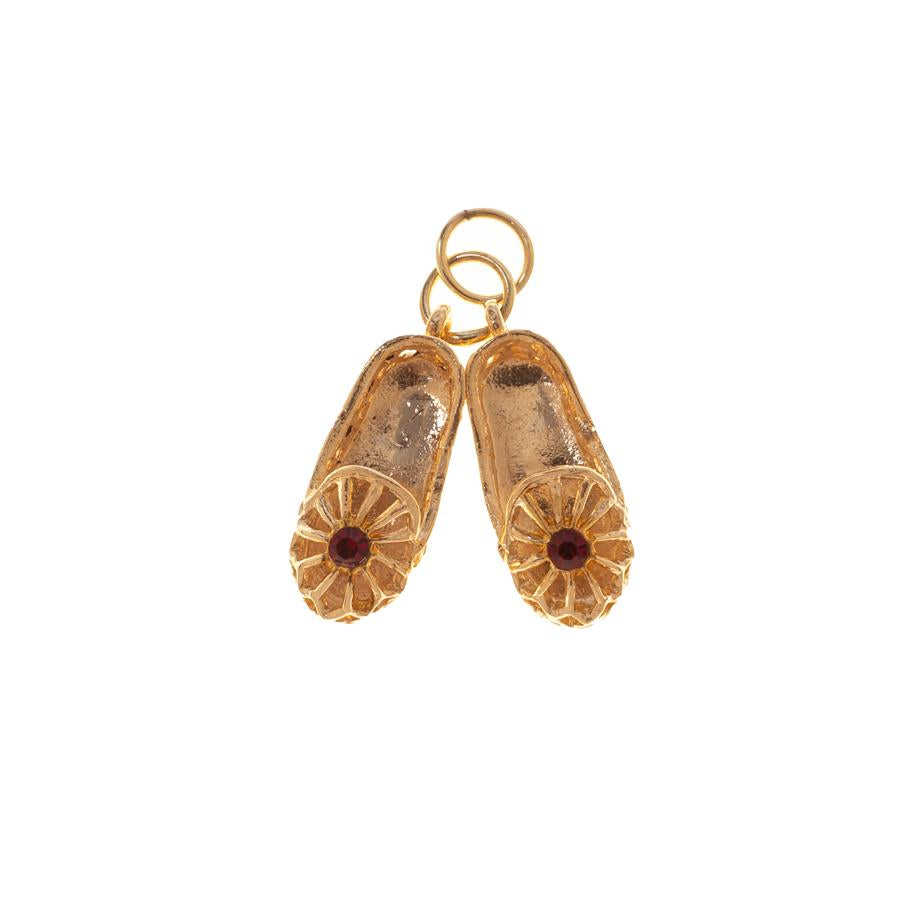 Pre-owned Red Stone Filigree Slippers Charm