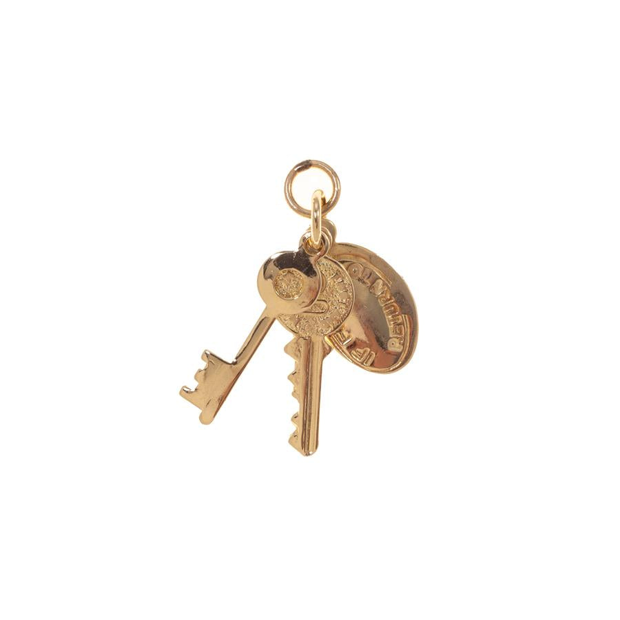 Pre-owned Yellow Gold Two Keys and Tag Charm