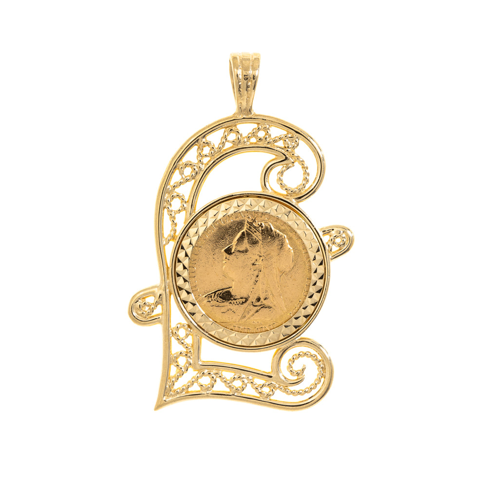 Pre-Owned 9ct Gold 1894 Half Sov Coin Pendant