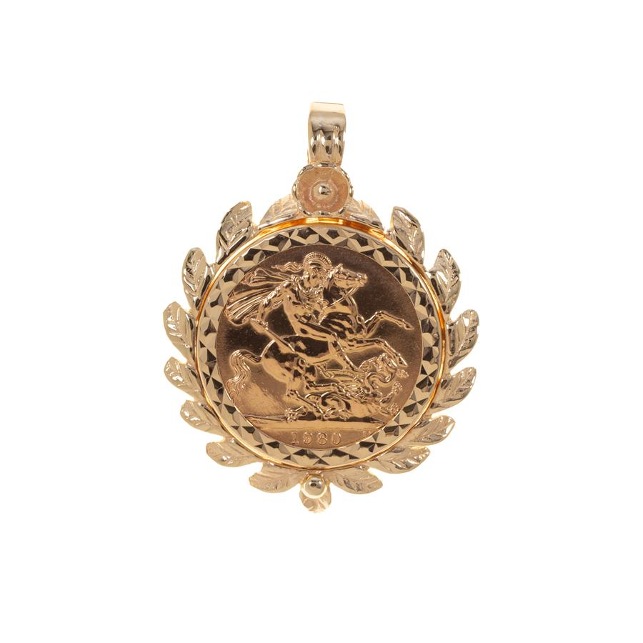 Pre-Owned 1980 Full Sovereign 9ct Gold Pendant