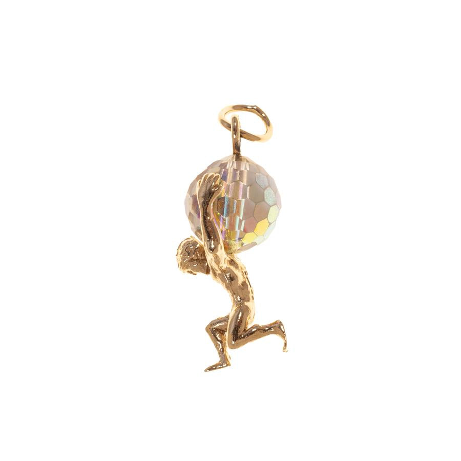 Pre-Owned 9ct Gold Atlas With Crystal World Charm