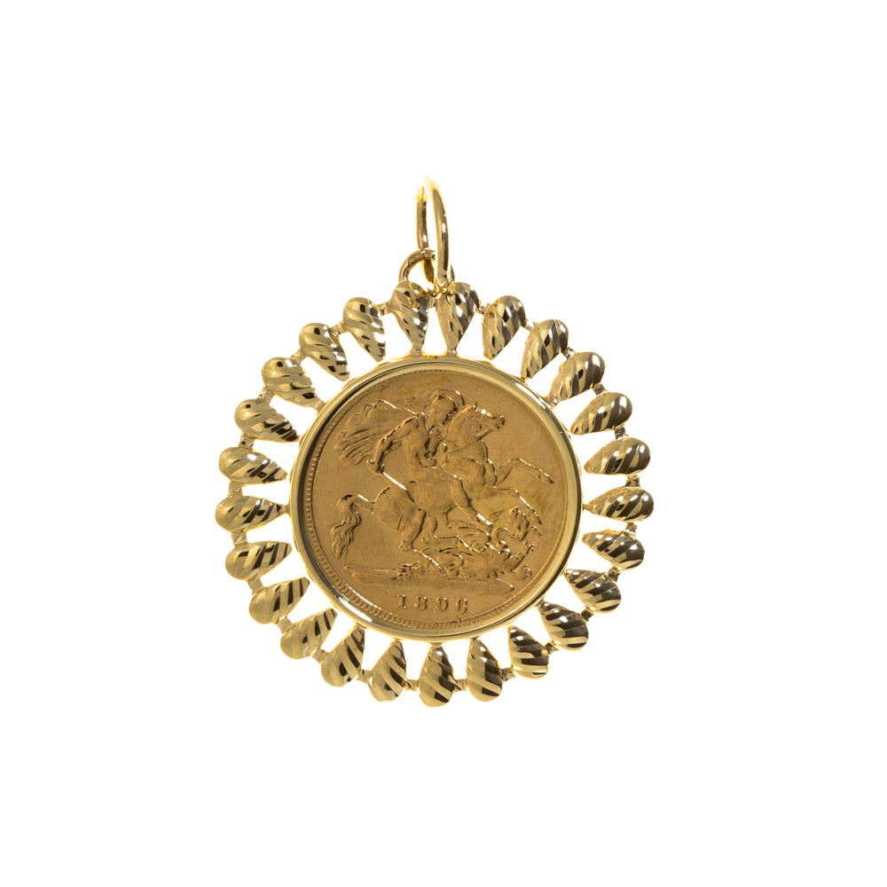 Pre-Owned 9ct Gold Half Sov Coin Mount Pendant