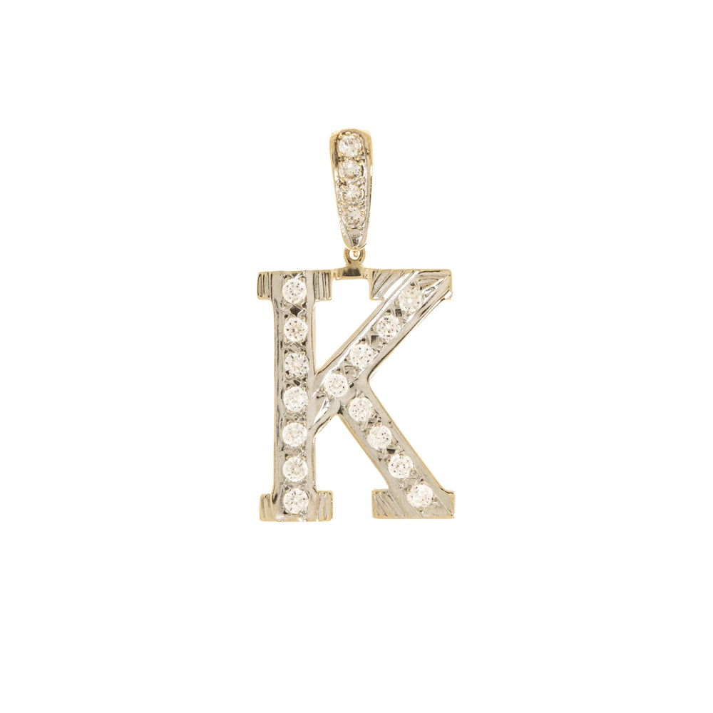 Pre-Owned 9k Gold Cubic Zirconia K Initial Pendant