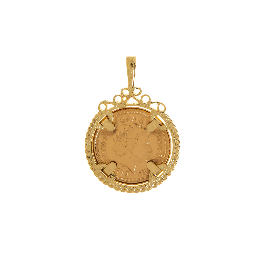 Pre-Owned 2000 Half Sovereign In 9ct Gold Pendant