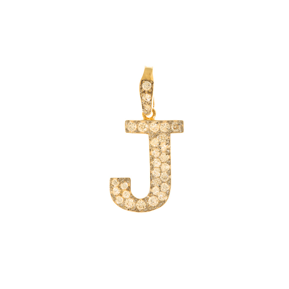 Pre-Owned 9k Gold Cubic Zirconia J Initial Pendant
