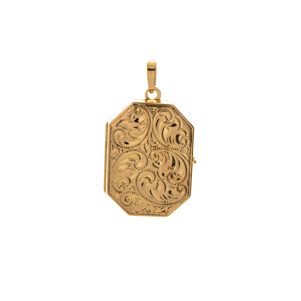 Pre-Owned 9ct Gold Octagon Shape Pattern Locket