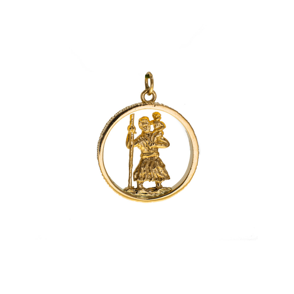 Pre-Owned Gold St Christopher Open Round Pendant