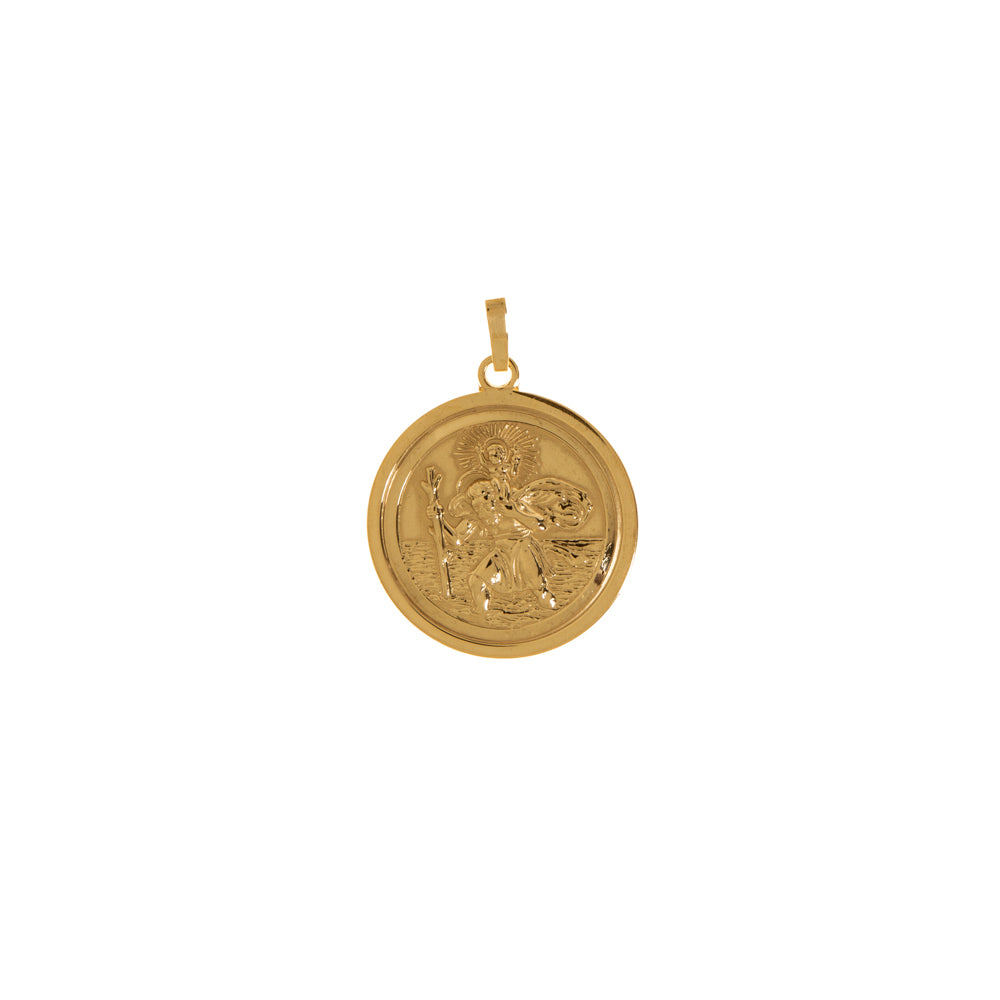 Pre-Owned 9ct Gold Round St Christopher Pendant