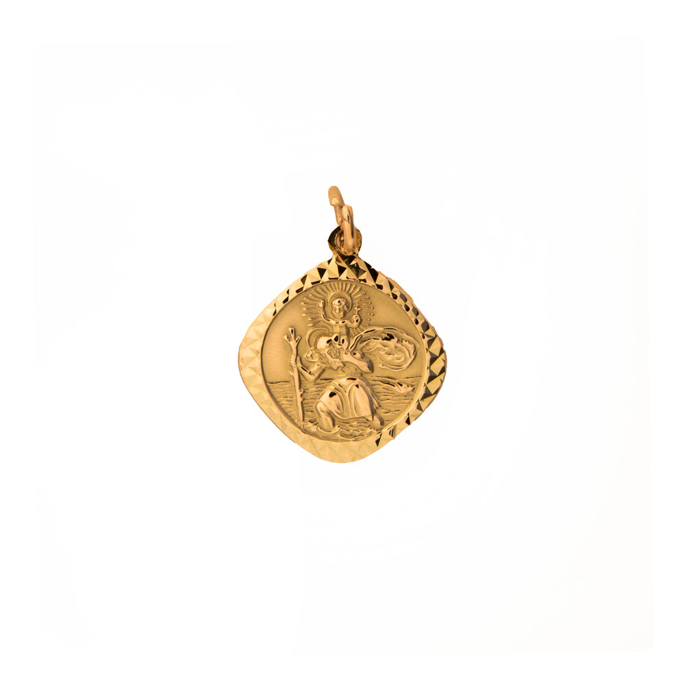 Pre-Owned Gold Facet Square St Christopher Pendant