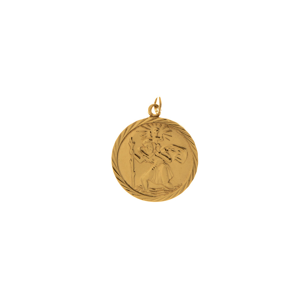 Pre-Owned Gold Facet Round St Christopher Pendant