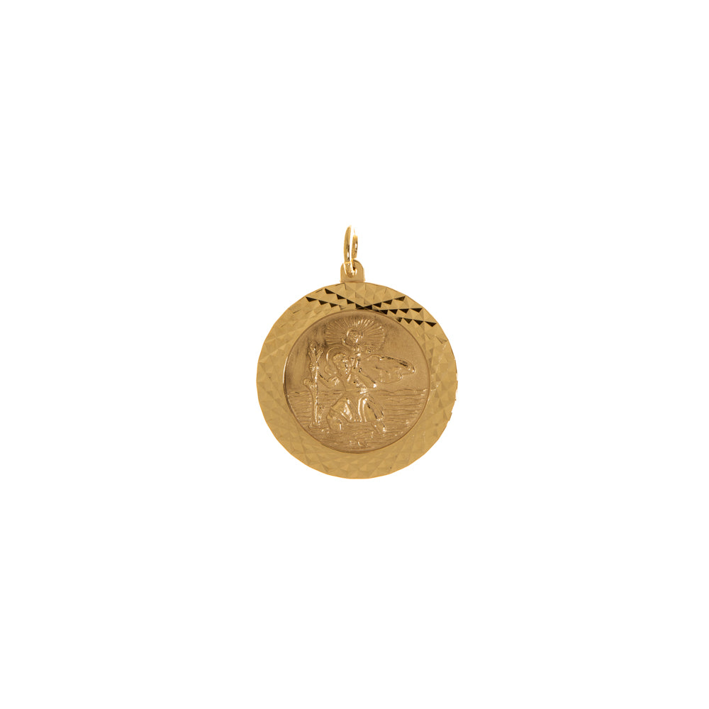 Pre-Owned Gold St Christopher Facet Round Pendant